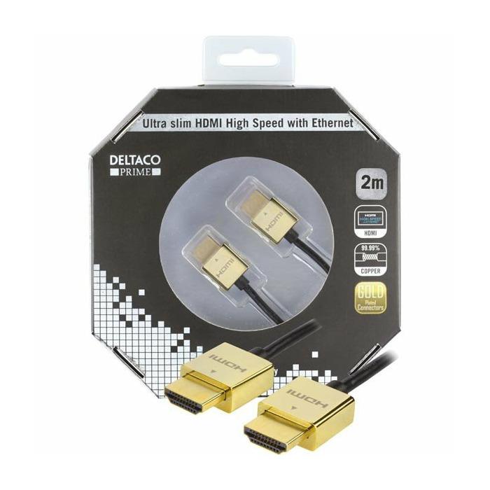 Deltaco HDMI-1050F 2m HDMI HDMI Black HDMI cable