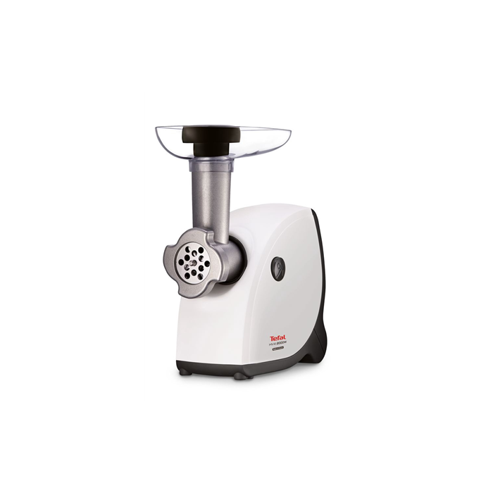 TEFAL Meat mincer  NE411137 White, 2000 W, Number of speeds 1, Throughput (kg/min) 2.3, The set includes 3 stainless steel sieves for fine, medium or coarse grinding.