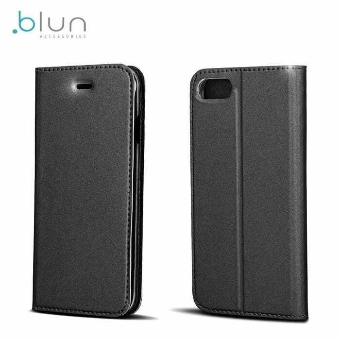 Blun Premium matēts eko ādas Magnētiskas Fiksācijas Sāniski atverams maks ar stendu Samsung A520F Galaxy A5 (2017) Melns