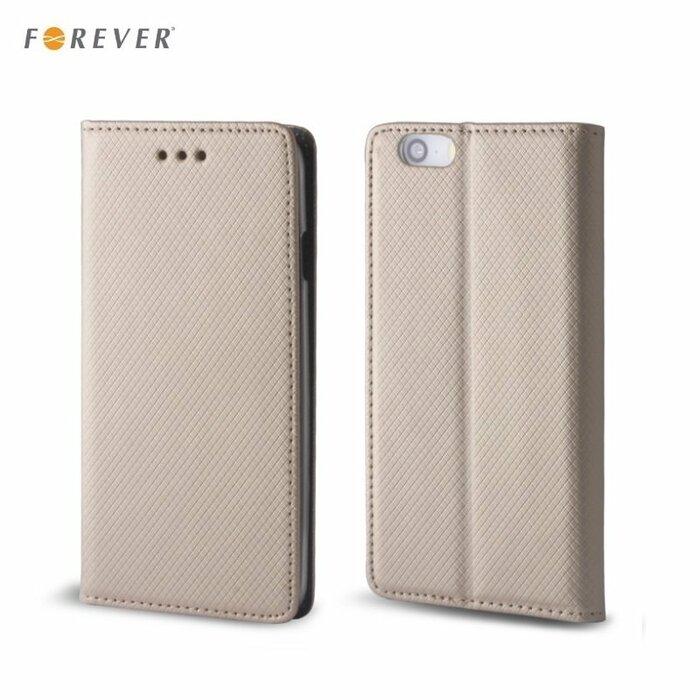 Forever Magnēstikas Fiksācijas Sāniski atverams maks bez klipša Samsung G390F Galaxy Xcover 4 Zeltains