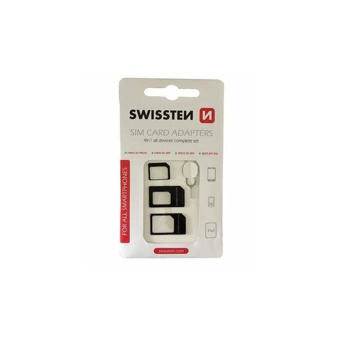 Swissten SIM Kartes Adapteru Komlekts + Adatiņa Slotam Melns