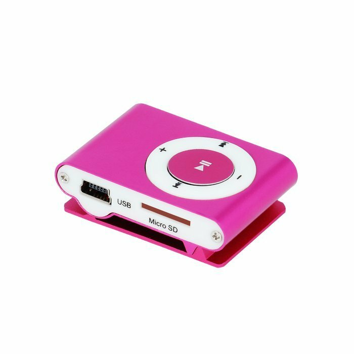 Setty MP3 Super Compact Music Player With MicroSD Card Slot + Headphones Pink