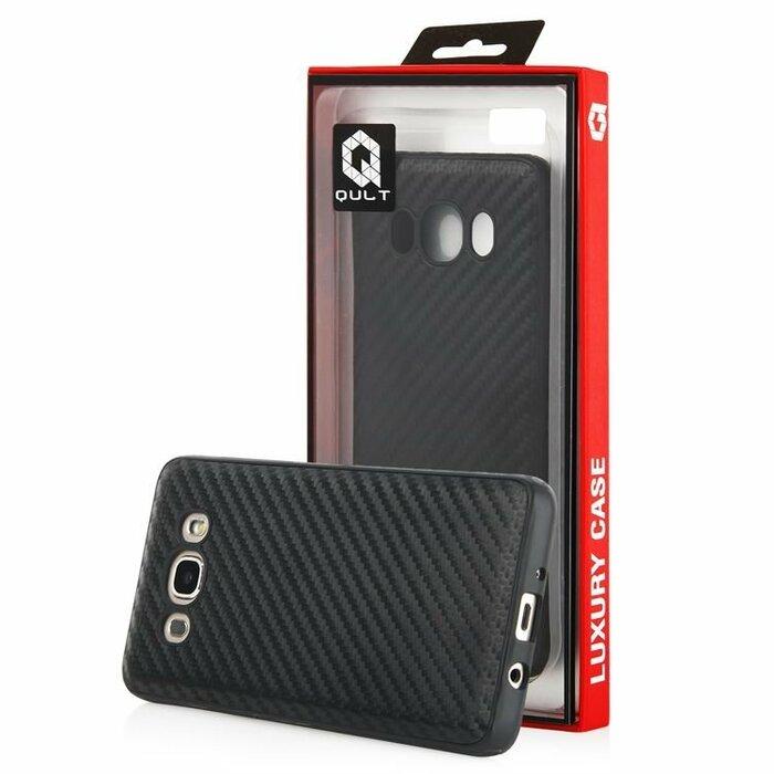 Qult Luxury Carbon Back Case Aizmugurējais Silikona Apvalks Priekš Samsung G935 S7 Edge Melns
