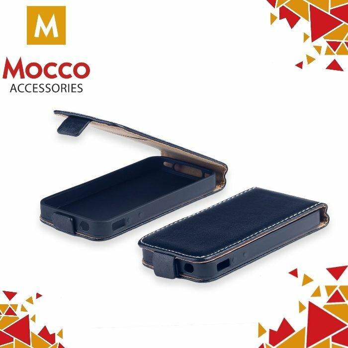 Mocco Kabura Rubber Case Vertikāli Atverams Premium Eco ādas Maks Telefonam Huawei P8 Lite (2017) Melns