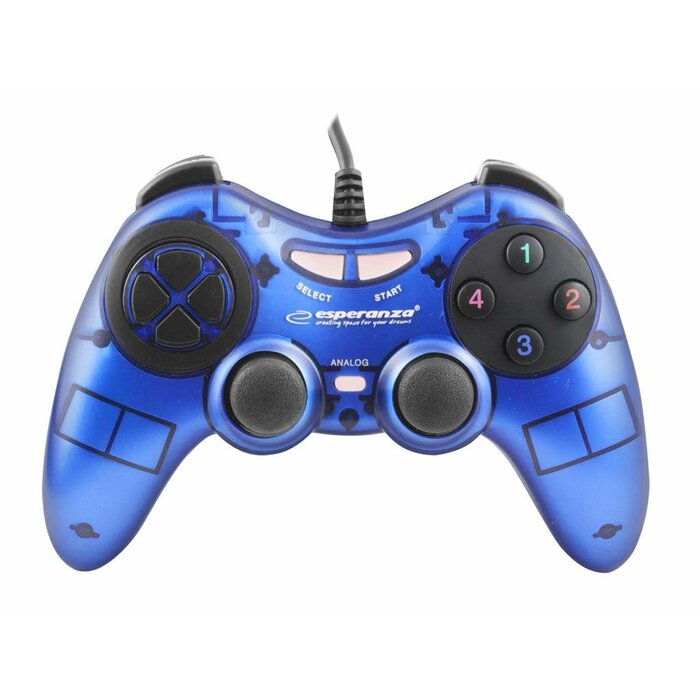 ESPERANZA EGG105B FIGHTER - VIBRATION GAMEPAD FOR PC COMPUTERS - BLUE