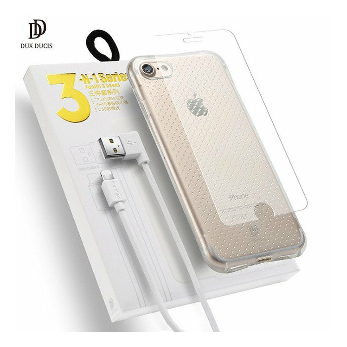 Dux Ducix 3 in 1 Set / Ultra Back Case 0 3 mm / Tempered Glass 9H / Micro  USB Data Cable 90 cm White / For Huawei P8 Lite / P9 Lite (2017)