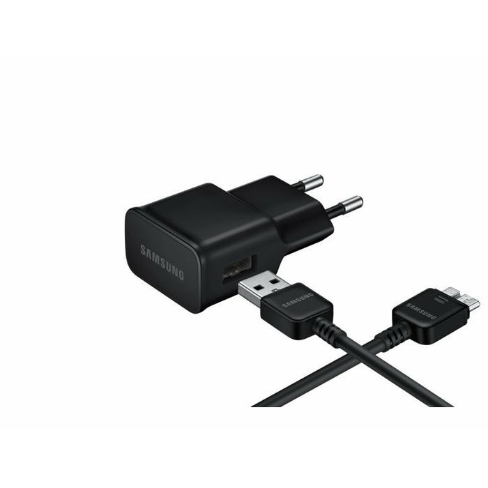Samsung EP-TA12EBE / 10W Oriģināls Tīkla Lādētājs + ET-DQ11Y1BE USB 3.0 Kabelis Melns (EU Blister)