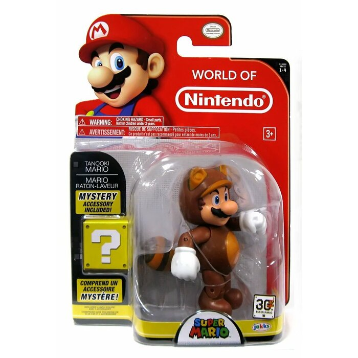 World of Nintendo: Super Mario - Tanooki Mario Action Figure, 10cm