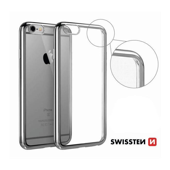 Swissten Elektro Jelly Back Case 0.5 mm Aizmugurējais Silikona Apvalks Ar Rāmīti Priekš Apple iPhone X Caurspīdīgs - Sudraba