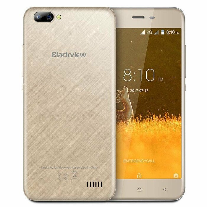 Smartphone | BLACKVIEW | A7 | 8 GB | Gold | 3G | OS Android 7.0 | Screen  5"