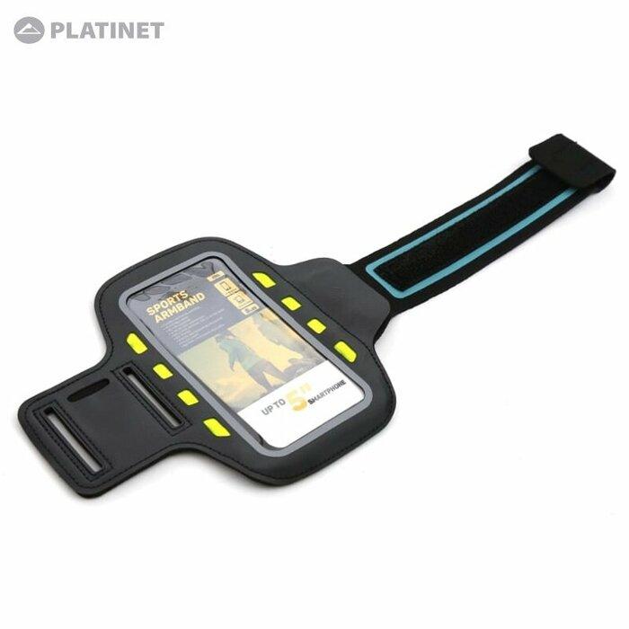"Platinet POSLB Universāls Telefona 5"" Max (13.5x6.5cm) Maks - Sporta Rokas Aproce - Ar Led Diodēm Melns"