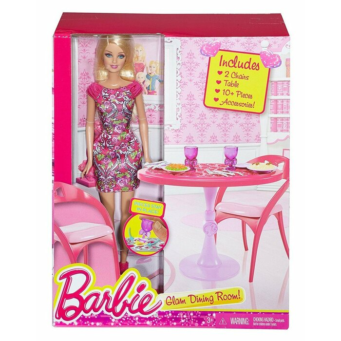 Barbie: Glam Dining Room Incl. 2 Chairs, Table and 10+ Accessories