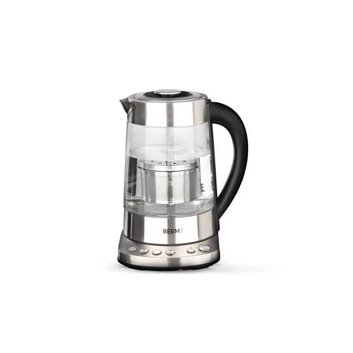 BEEM Tea and Water Glass Kettle  1110SR With temperature control,  Stainless steel and glass,  Stainless steel/ transparent, 2000 W, 360° rotational base, 1.7 L