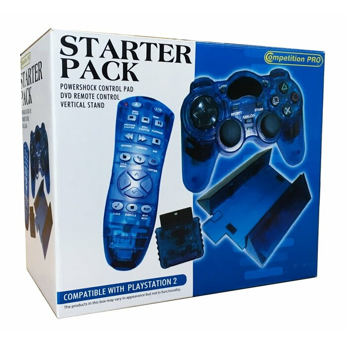 PS2 Starter Pack incl. Powershock Control Pad, DVD Remote and Vertical Stand Blue