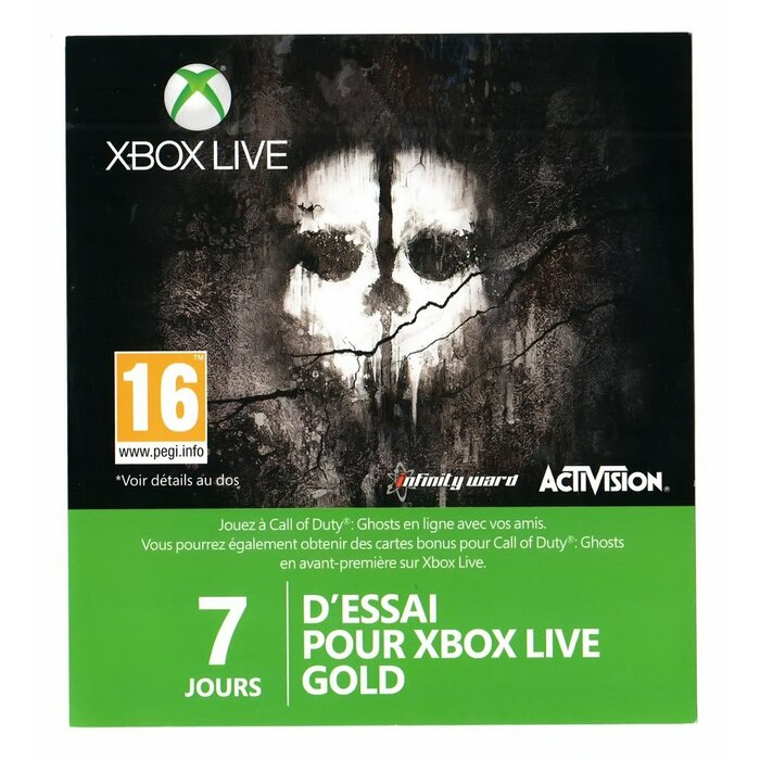 Xbox LIVE Gold 7 Day Trial Membership Card
