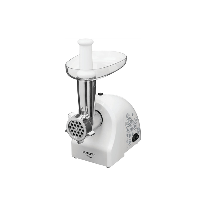 Scarlett Meat mincer SC-MG45S52 White, 1900 W, Number of speeds 1, Throughput (kg/min) 2, 2 detachable steel grids with holes: 5 mm and 7 mm. Nozzles for making sausages and home kubbe.