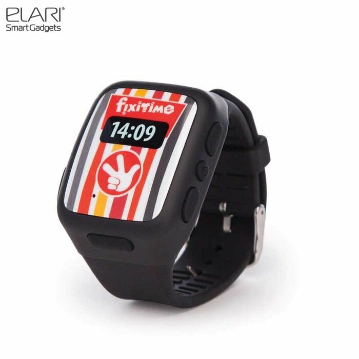 Elari FixiTime Bērnu 2G GSM Pulkstenis-Telefons ar GPS/LBS Trekingu Sos Pogu Mik. Melns