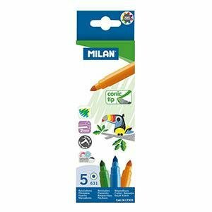 Flomāsteri 5 krāsas d=5mm conic tip Milan