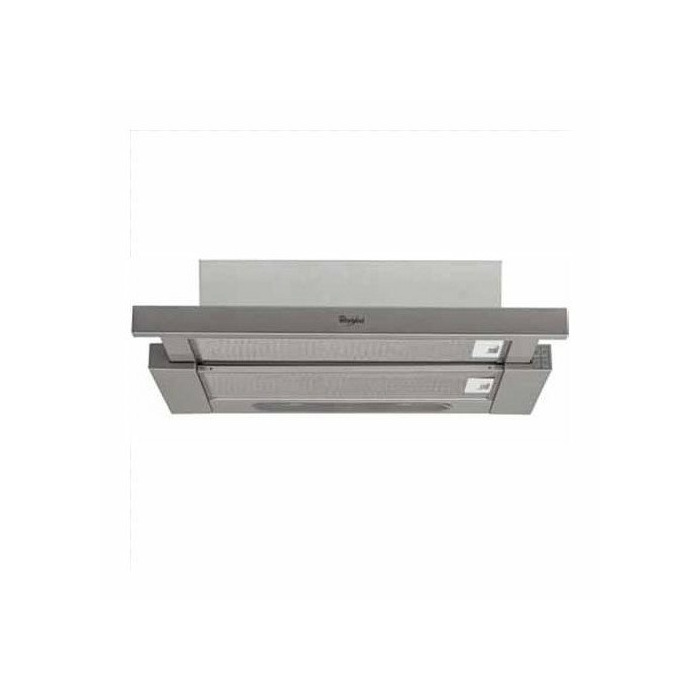 Hood Whirlpool Mechanical panel, Width 60 cm, 12 m³/h, Inox, Energy efficiency class E, 65 dB, Built-in telescopic