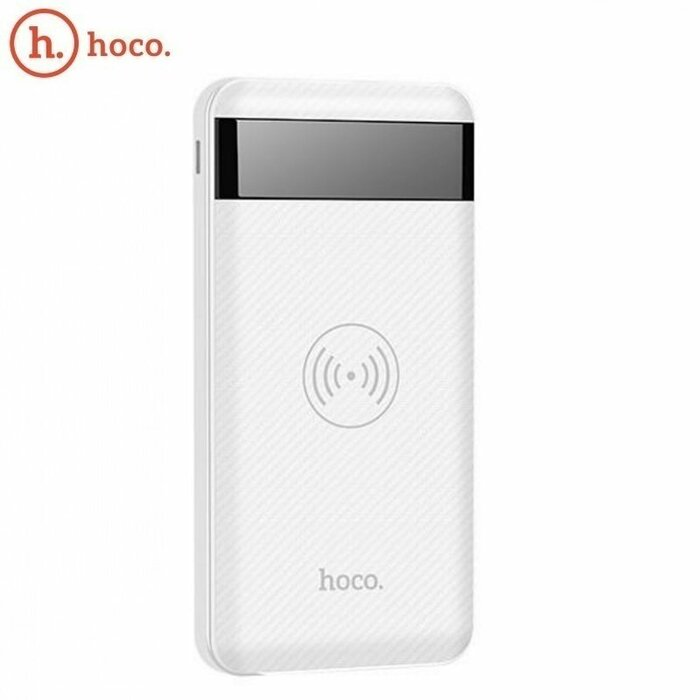 Hoco J11 Multi Port in 10000mAh Wireless Qi Plate Power Bank External Charger 5V Dual USB 2A Max LCD White