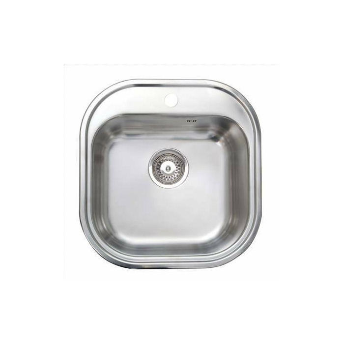Cata CS-1 Top mount sink, Square bowl, Inox, Stainless steel, Bucket depth 16.5 cm, Accessories: Watertight strip, Fastening clamps, Overflow pipe, Siphon