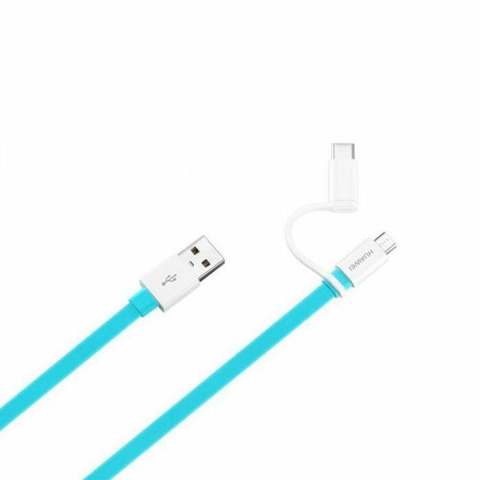 Huawei AP55S Oriģināls USB-C + Micro USB Datu un Uzlādes Kabelis 1m Zils (EU Blister)
