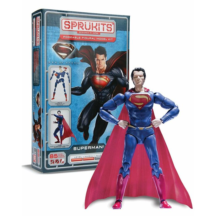 Sprukits Man of Steel - Superman Poseable Figural Model Kit, 85 Pieces