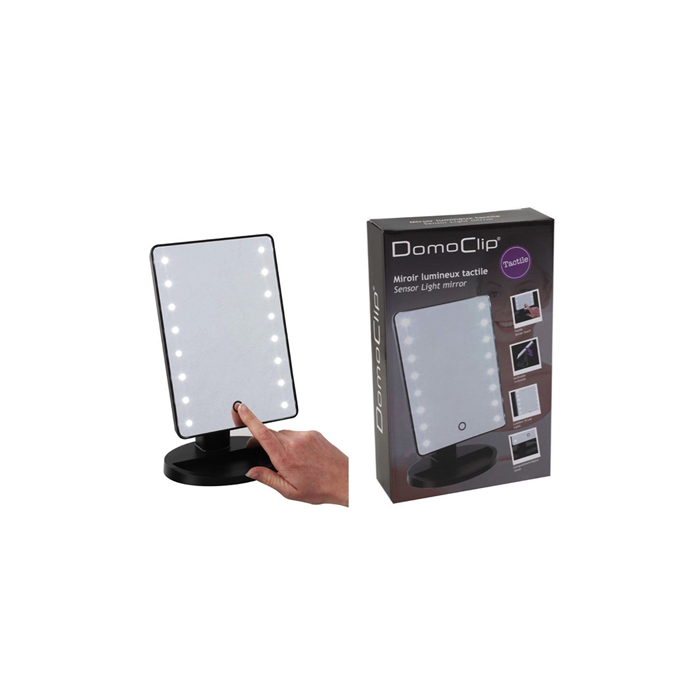 DomoClip Black, Sensor Light Mirror, 16 cm