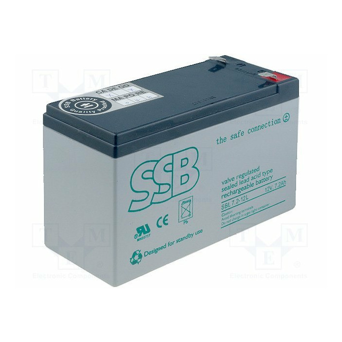 Rechargeable Battery SSB acid-lead, 12V, 7.2Ah,  (SBL 7.2-12L)