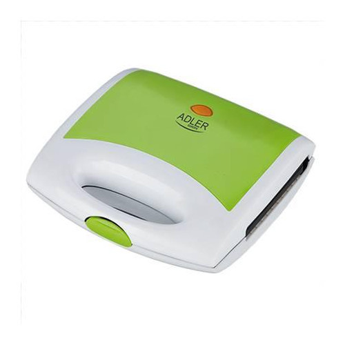 Adler AD 3020 Sandwich maker, Non-stick coated plates, Cool touch plastic housing, Ready/Power indicator, Triangle sandwiches, Green