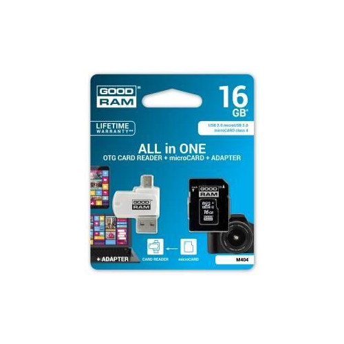 Micro Sd Karte 16gb.Atminas Karte Goodram Microsd 16gb All In One Class 4 Card Reader