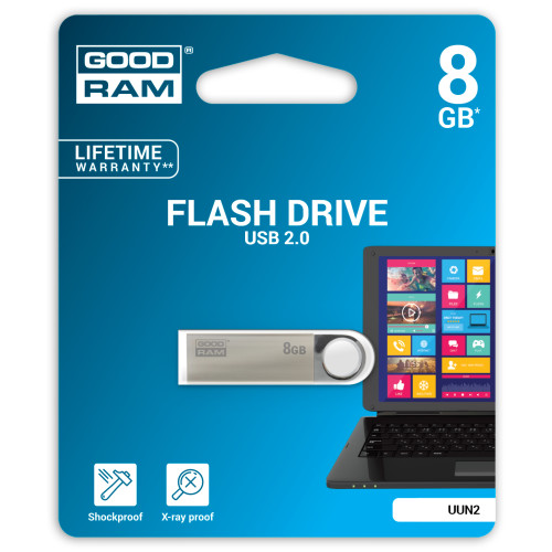 Goodram 8GB USB 2.0 8GB 2.0 USB Type-A connector Black, Silver USB flash drive