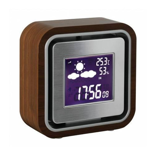 ClipSonic SL238 Weather station, Blue backlight, Wooden