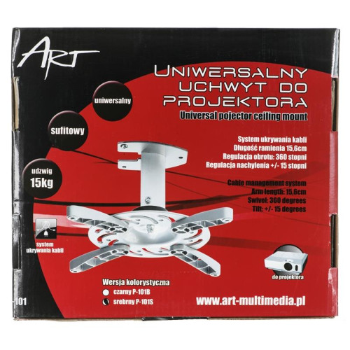 Mount for the projector ART P-101S (ceiling ; 15 kg ; silver color)