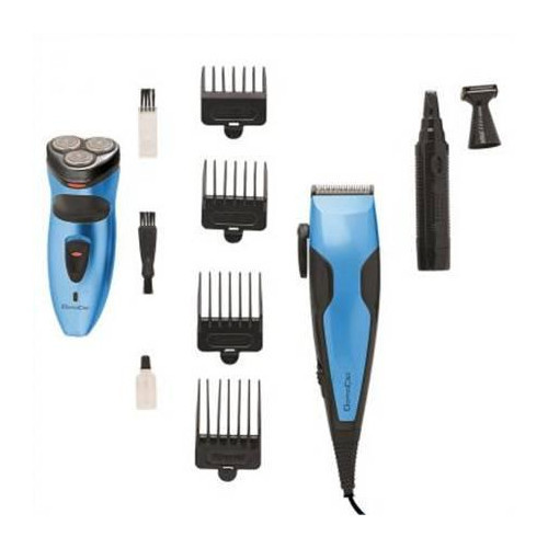 DomoClip DOS128 Man grooming set, 4 combs for cutting lengths from 3 to 12 mm, 3 stainless steel heads shaver, Blue/Black DomoClip