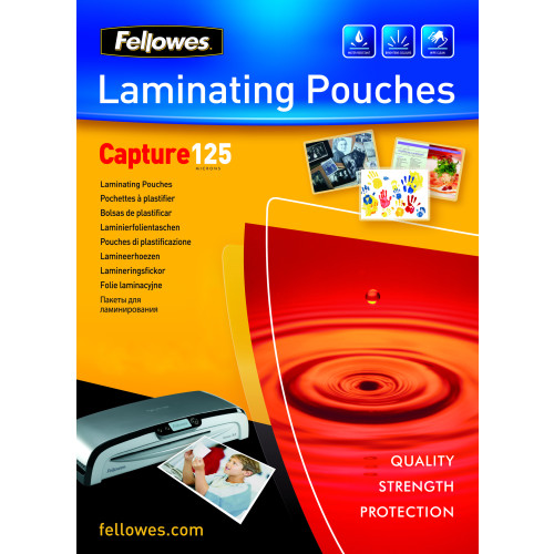 Fellowes Glossy 125 Micron Card Laminating Pouch - 83x113mm