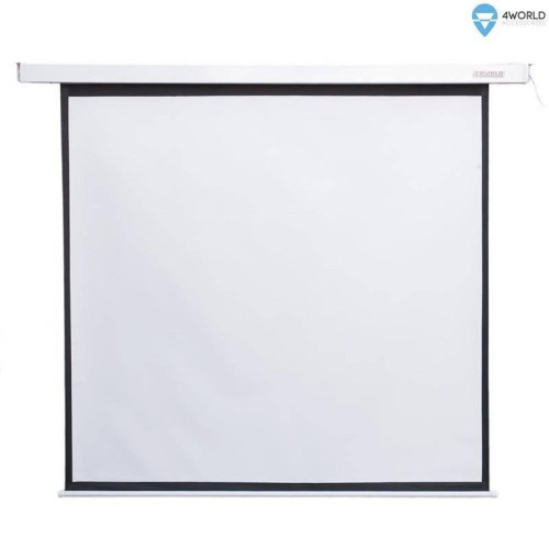 4World Electric mount projection screen, remote, 140x140 (1:1) Matt White