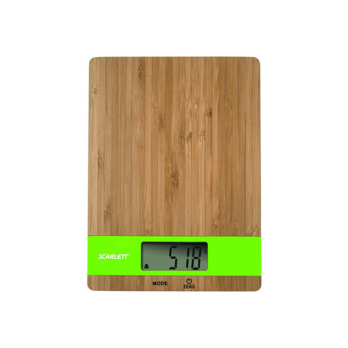 Scarlett Kitchen scale SC-KS57P01  Maximum weight (capacity) 5 kg, Graduation 1 g, Display type LCD, Pure bamboo