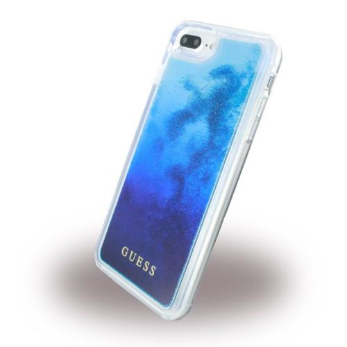 GUESS GUHCP7LGLUGRRBL Liquid Glitter Ciets plastmasas aizmugures maks-apvalks Apple iPhone 6 Plus / 6S Plus / 7 Plus 5.5inch Zils