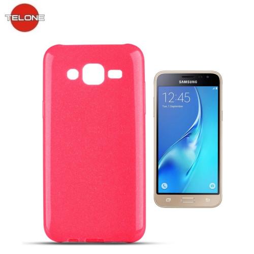 Telone Candy Super Plāns 0.3mm Silikongēla Telefona Apvalks ar spīdumiem Samsung J320F Galaxy J3 (2016) Rozā