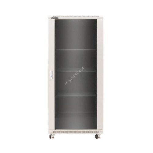 Linkbasic rack cabinet 19'' 42U 600x1000mm grey (smoky-gray glass front door)