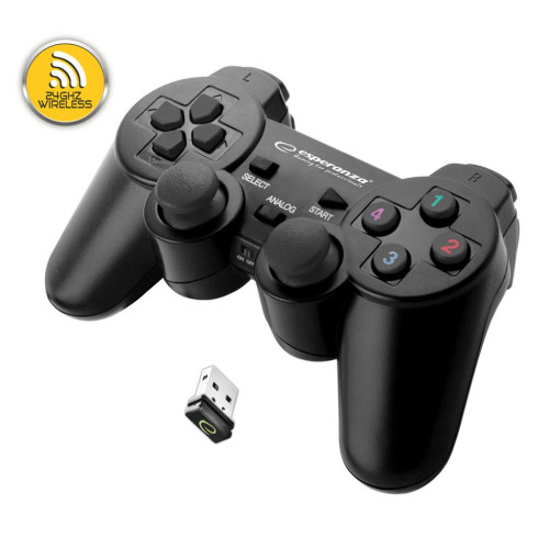 ESPERANZA EGG108K GLADIATOR - VIBRATION GAMEPAD WIRELESS FOR PC / PS3 BLACK