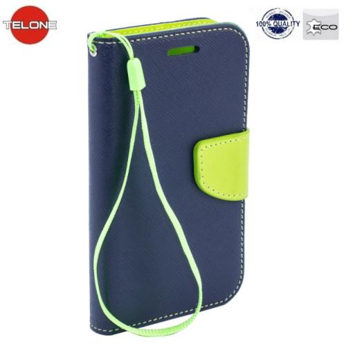 Telone Fancy Diary Book Case ar stendu Sony Xperia XZ F8331 / XZ Dual F8332 sāniski atverams Zils/Salātkrāsas