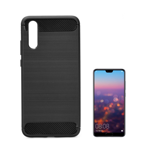 TakeMe TPU plāns aizmugures maks-apvalks ar KARBONA virsmas efektu priekš Huawei P20 Pro / Plus Melns