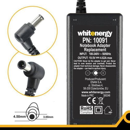 f743e42f9ab Whitenergy AC adapter 19.5V/4.62A 90W plug 4.0x3.0mm